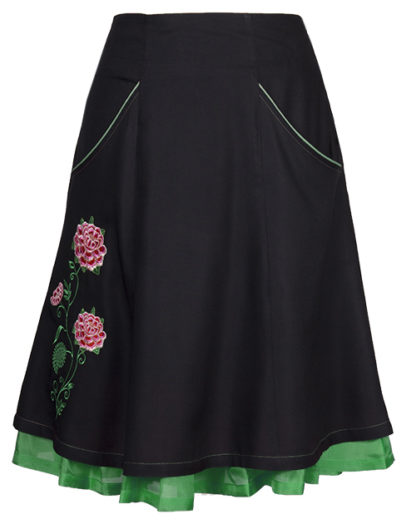 Feminine and comfortable skirt - The black and green skirt has roses embroidered on it - colourful silk flounces