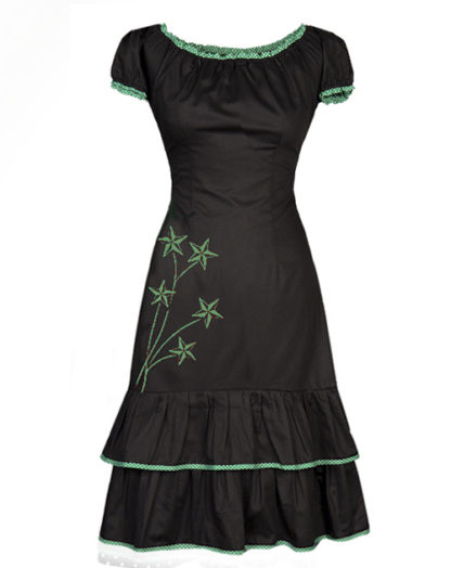Black and green dress - made from organic cotton sateen with tie-strings in the back