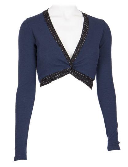 Blue wrap-around blouse