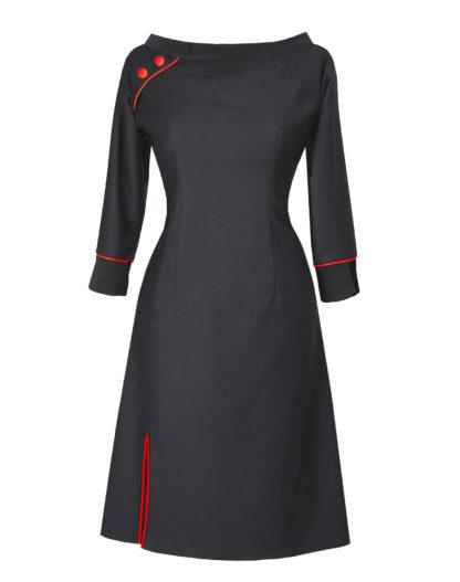 Black Red dress made of organic wool